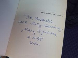 Forssman Übersetzer Maj Sjöwall Widmung